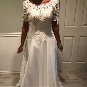 Chiffon Mary's Bridal Gown, Off White with Pearls